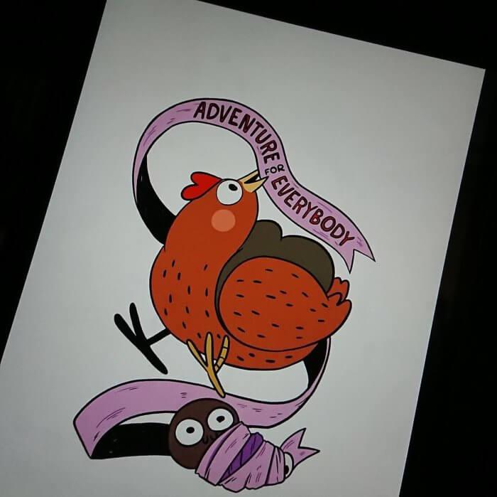 Adventure Huhn und die Raupe Susan. Comic von Franziska Ruflair