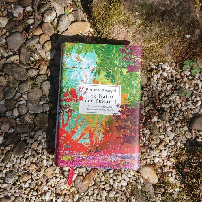 Die Natur der Zukunft. Das SAchbuch von Bernhard Kegel liegt auf Kies und Steinen in einem Garten